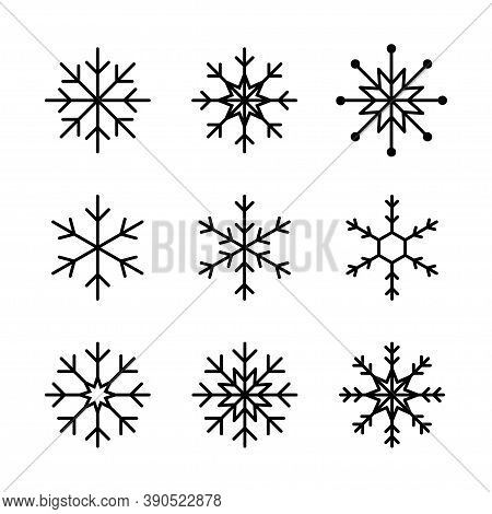 Snowflake Line Icon. Vector Isolated Elements. Set Of Vector Isolated Line Snowflake Line Icons. Sno