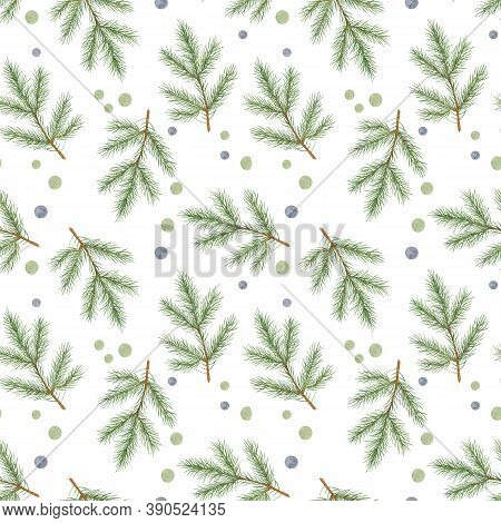 Christmas Fir Tree Green Branch Repeat Pattern Watercolor Illustration Simple Hand Drawn Festive Moo