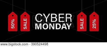 Cyber Monday Banner. Abstract Vector Poster Template.cyber Monday Banner With Red Sale Tags. Stock V