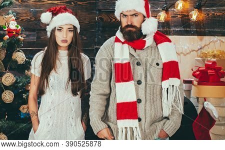 Merry Christmas And Happy New Year. Joyful Friends Celebrate Christmas At Home. Christmas Married Co