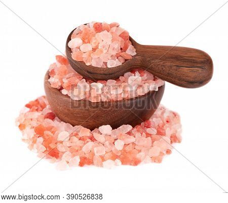 Himalayan Pink Salt In Wooden Bowl And Spoon, Isolated On White Background. Himalayan Pink Salt In C