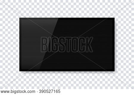 Realistic Blank Tv Screen. Vector Isolated Template. Empty Tv Frame With Shadow. Television Screen L