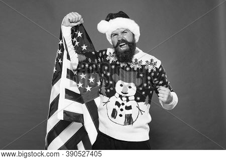 Celebrate All The Way. American Man Celebrate Winter Holidays. Patriotic Santa On Pink Background. C