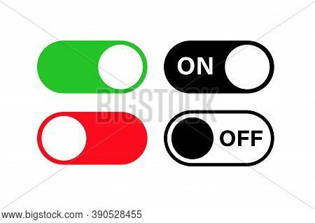Switch Toggle Buttons On Off. Vector Isolated Web Elements. Mobile App Interface Switch Buttons And