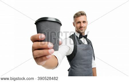 Unleash Your Inner Barista. Coffee Barista Isolated On White. Happy Barman Serve Hot Drink. Takeaway