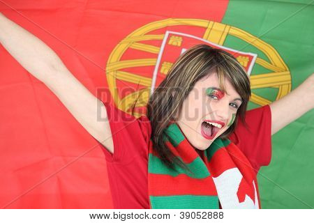 Woman supporting the Portuguese football team