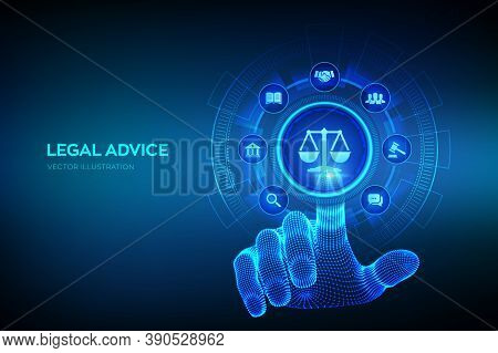 Labor Law, Lawyer, Attorney At Law, Legal Advice Concept On Virtual Screen. Internet Law And Cyberla