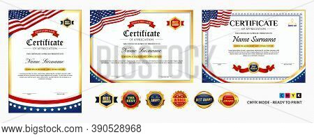 Set Of Diploma Certificate Template With Luxury And Glamour Style, Or Certificate With Gold Badge, O
