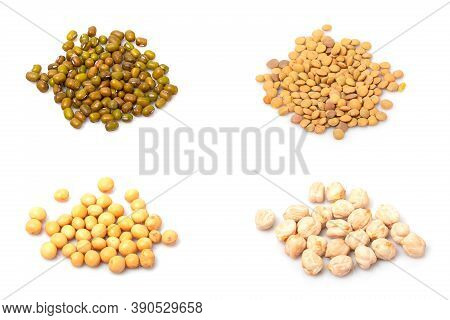 Set Of Different Cereals Isolated On White Background