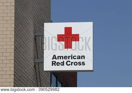 Indianapolis - Circa October 2020: American Red Cross Sign. The American National Red Cross Provides