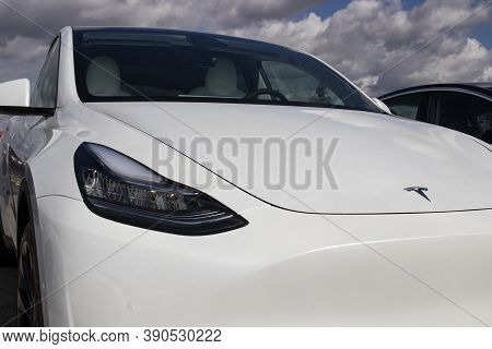 Indianapolis - Circa September 2020: Tesla Electric Vehicles Awaiting Preparation For Sale. Tesla Ev