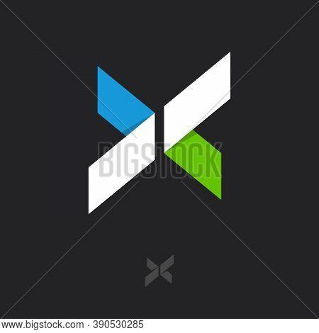 X Monogram. X Origami Logo. X Letter Like Color Ribbons Like Paper Figures. Monochrome Option.