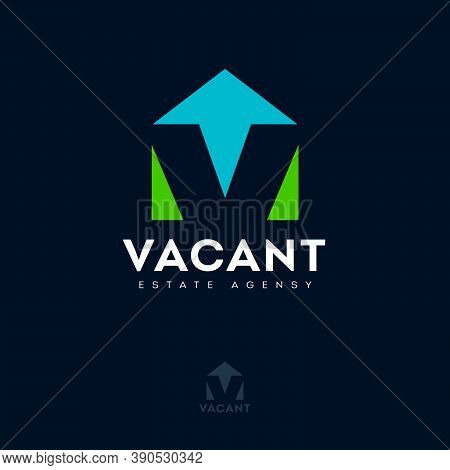 Vacant Logo With Optical Illusion. V Letter, Monogram Like House Silhouette. Logo For Estate Agency,
