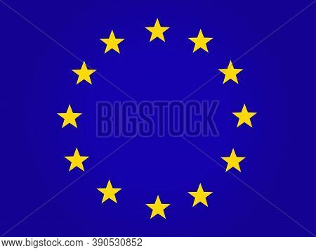 The Official Flag Of The European Union. Twelve Yellow Stars On A Blue Background. Vector, Horizonta