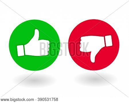 Thumb Up And Down, Like And Dislik. Red And Green Flat Icon With Shadow. Round Icons Assessment, Pos