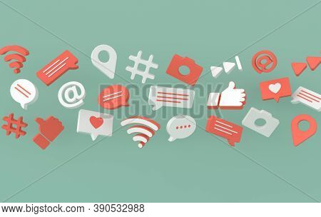 Like, Chat, Comment Bubble, Camera, Hashtag, Wi Fi Wireless Network Symbol, At, Play Icons. Social M