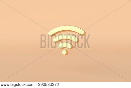 Wi-fi Icon 3d Rendering. Golden Wi-fi Symbol On Beige Background. 3d Rss Symbol For Website, Social