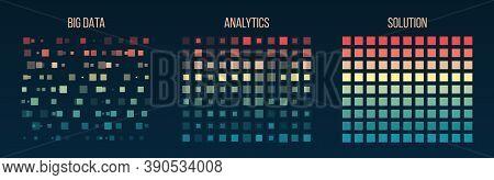 Big Data Visualization. Information Analytics Concept. Abstract Stream Information. Filtering Machin