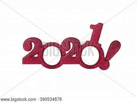 2021 Numbers Isolated. Two Thousand Twenty First New Year Holiday Glasses In The Form Of Figures Two