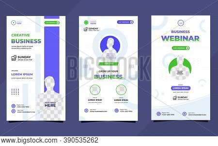 Collection Of Social Media Story Post Templates. With Minimalist Geometric Background In White, Blue