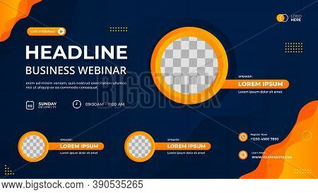 Vector Graphic Of Blue And Orange Wave Background With Circle Frame. Suitable For Web Banner, Busine