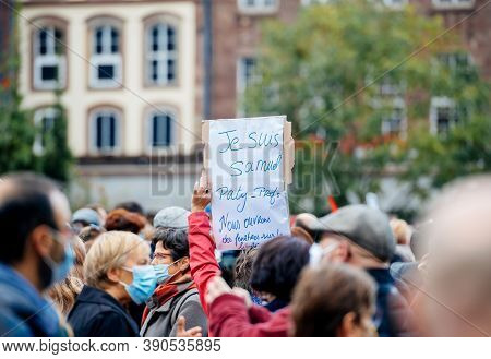 Strasbourg, France - Oct19, 2020: Je Suis Samuel Placard - Pay Tribute To History Teacher Samuel Pat