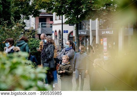 Strasbourg, France - Oct19, 2020: Young And Adults In Place Kleber To Pay Tribute To History Teacher