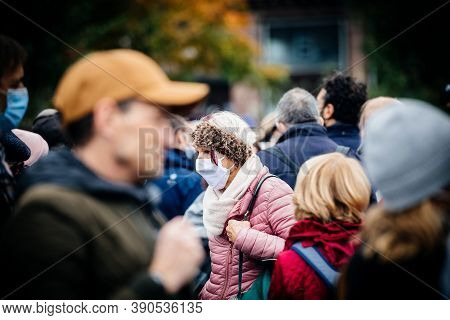 Strasbourg, France - Oct19, 2020: Sad Faces Of People At The Place Kleber To Pay Tribute To History