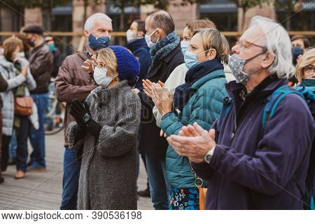 Strasbourg, France - Oct19, 2020: People Gathered At The Place Kleber To Pay Tribute To History Teac
