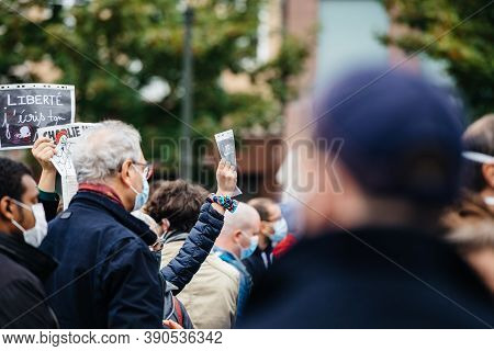 Strasbourg, France - Oct19, 2020: Crowd In The Place Kleber To Pay Tribute To History Teacher Samuel