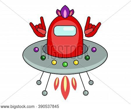 Astronaut - Punk In A Flying Saucer, Fan Art Among Us. A Man Or An Alien In A Red Spacesuit Flies On