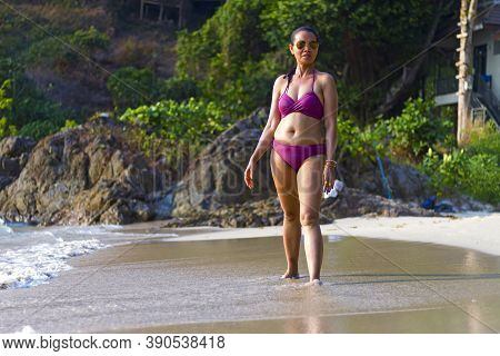 Woman Shape Pretty With Bikini Relax On Beach At Beach Koh Chang Thailand. Koh Chang Is Located In T