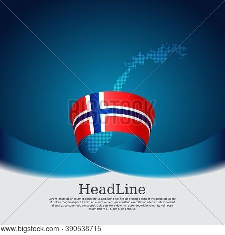 Background With Flag Of Norway. National Norwegian Poster. Flag Of Norway, Mosaic Map On A Blue Whit