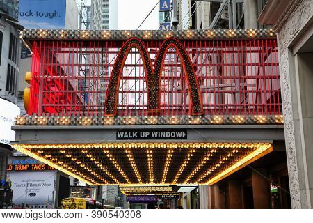 NEW YORK, NY, USA - OCTOBER 20, 2016: McDonald's sign outside food restaurant