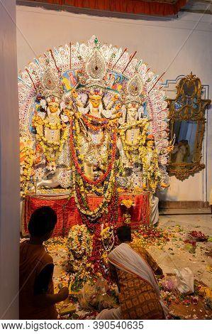 Kolkata, West Bengal, India - 6th October 2019 : Hindu Priest Uttering Sanskrit Shlokas For Pushpanj