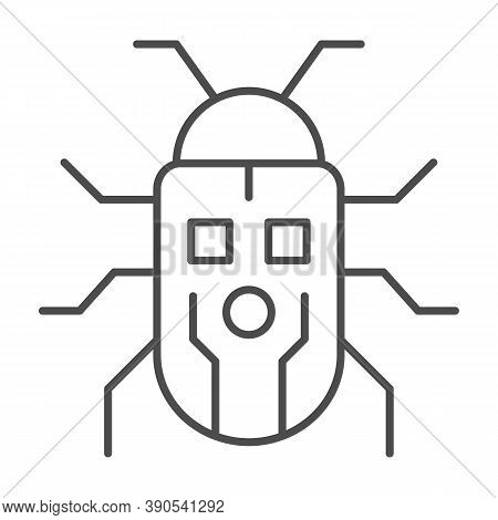 Robot Beetle Thin Line Icon, Robotization Concept, Robot Bug Sign On White Background, Robotic Beetl