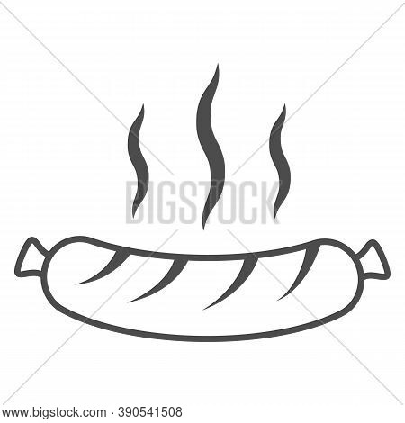 Hot Grilled Sausage Thin Line Icon, Oktoberfest Concept, Oktoberfest Festival Traditional Food Sign