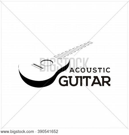 Silhouette Vintage Acoustic Guitar Strings Music Instrument Piano Logo Design Inspiration