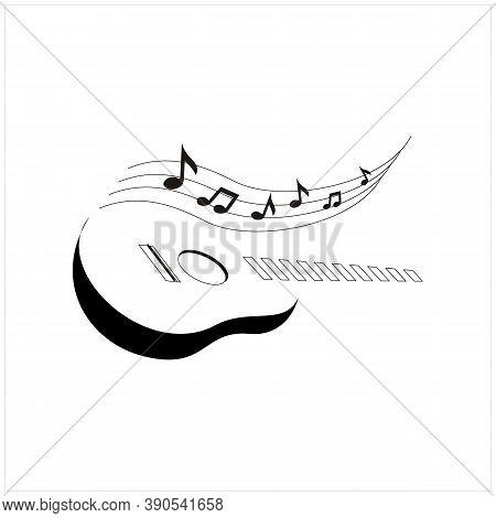 Silhouette Guitar Strings And Chord Music Instrument Logo Design