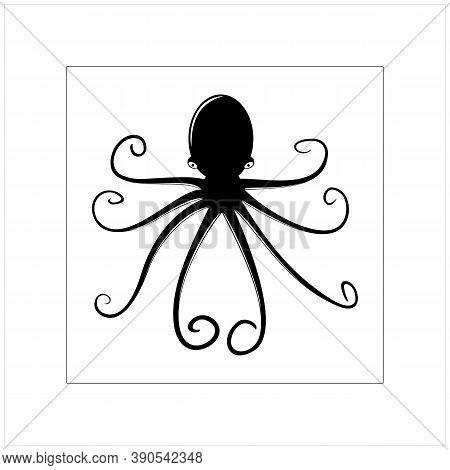 Silhouette Vintage Octopus Cuttlefish Squid Tentacles Vector Logo Design