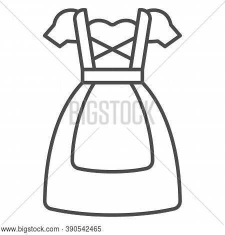 Oktoberfest National Dress Thin Line Icon, Oktoberfest Concept, Bavarian Woman Dress Sign On White B