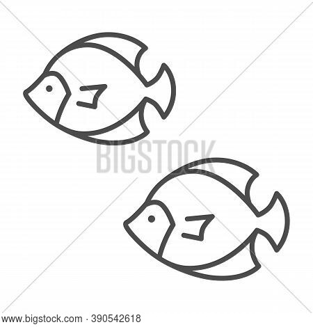 Sea Fish Thin Line Icon, Marine Life Concept, Underwater World Sign On White Background, Colony Of S