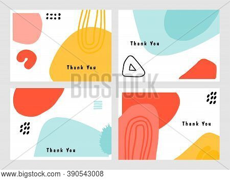 Thank You Card. Beautiful Greeting Cards. Thank You Vector Greeting Card Set. Postcards,  Abstract B