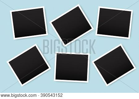 Vector Illustration Of Photo Frames. Old Photographs On A Blue Wall. Black Photographs In White Fram