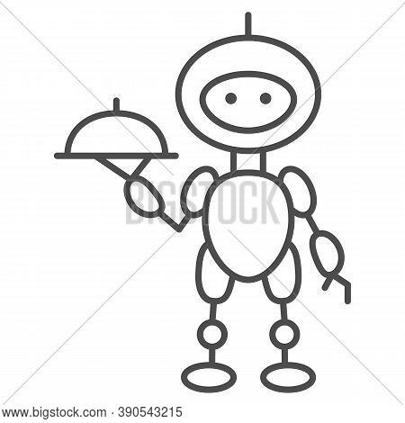 Robot Waiter Thin Line Icon, Robotization Concept, Future Restaurant Service Sign On White Backgroun