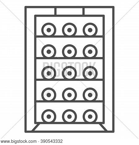 Cabinet With Bottles Of Wine Thin Line Icon, Wine Festival Concept, Alcoholic Beverages On Shelf Sig