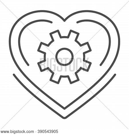 Mechanical Heart Thin Line Icon, Robotization Concept, Love Mechanism Sign On White Background, Hear