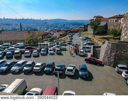 Turkey, Ankara - October 23, 2019: City Panorama With Parking For Cars Near Ankara Castle. Many Mode