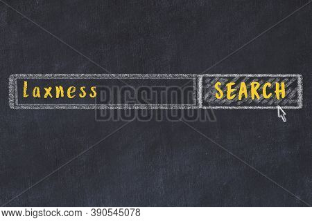 Drawing Of Search Engine On Black Chalkboard. Concept Of Looking For Laxness