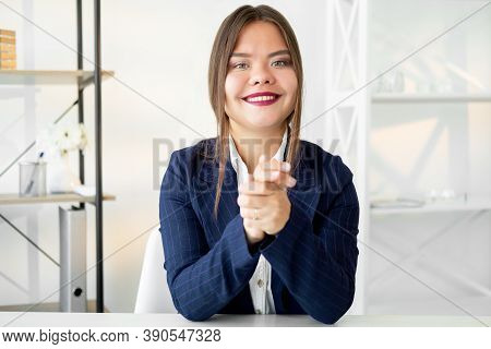Female Career. Business Interview. Professional Growth. Portrait Of Cheerful Confident Ambitious Wom